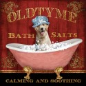 "Knutsen-""Old Time Bath"".Artistic canvas print on woodframe with Retriever Dog bathing image"