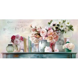"Robinson""Paris Petit"" Amazing Home Decor Flower, Ready to Hang Picture in White and Aquamarine"