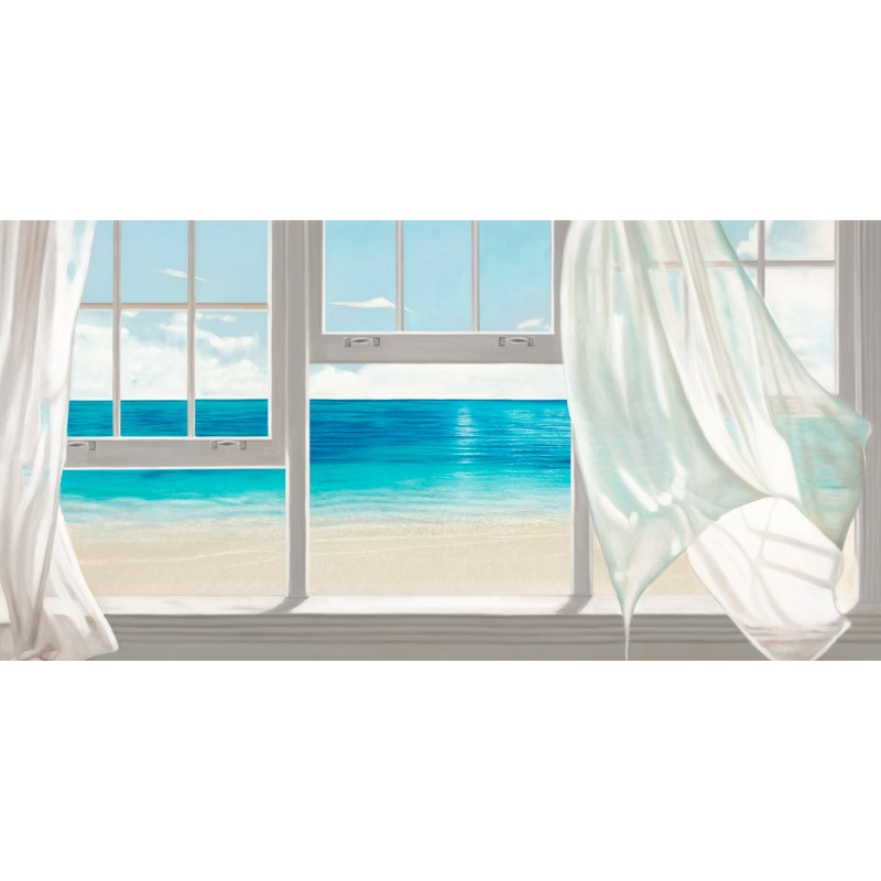 Benson emerald seascape quadro moderno finestre e tende for Quadro per camera da letto