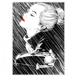 """Rain""-Astorina.Diabolik comics Stretched Canvas with Eva Kant in the rain,77x ltd ed with Astorina Certificate"