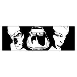 Diabolik & Eva-Astorina.Diabolik comics in black & white Stretched Canvas with Eva Kant & Jaguar