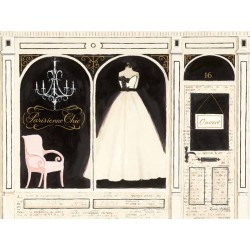 "Emily Adams""Parisienne Chic""-Fashion-New Country style Stretched Canvas with white wedding dress"