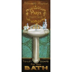 "Knutsen""Francais De Bain 1""-stretched canvas diptych/single picture for Bathroom or Toilet"