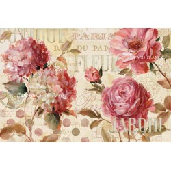 "Lisa Audit""Harmonious 4"",Shabby-New Country style Stretched Canvas with roses and mixed flowers"