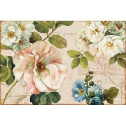 "Lisa Audit""Les Jardin 1"",Shabby-New Country style Stretched Canvas with savage white roses and mixed flowers"