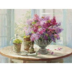 "Nai""Lilacs Still Life"",home decor Stretched Canvas with lilies and cactus, 100x150 cm or other sizes"