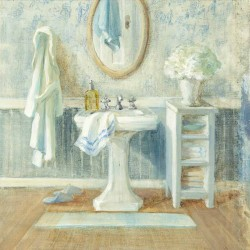 "Nai""Victorian Sink 2"", 3cm high stretched canvas with romantic bathroom"