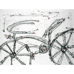 "Campins""Ida y Vuelta"" ready stretched Art picture with bicycle in black & white"