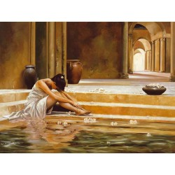 "Ron Di Scenza""Healing Water"" figure ready stretched Art Picture with Woman and water"