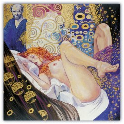"""Gustav Klimt-The Painter And The Model""Milo Manara.quadri di fumetti originali con Certificato di Autenticità"