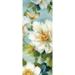 "Lisa Audit""Reflections 4""shabby-New Country style modern stretched canvas with white roses"