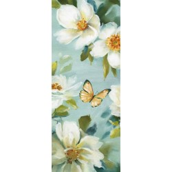 "Lisa Audit""Reflections 5""shabby-New Country style modern stretched canvas with butterfly and white roses"