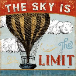 """Pela Studio""""A Great Journey 1"""" stretched canvas print on 3cm high wooden frame with quote and hot air balloon image"""