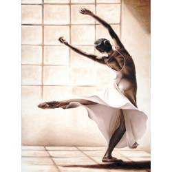 "Young ""Dance Finesse"" Author's Image with modern dancer in white and brown, vertical format"