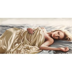Sleeping Beauty, Pierre Benson - high quality artistic print with naked woman in white sheets