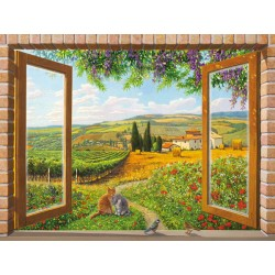 """Finestra sulla Campagna"",Del Missier. Design Picture with Pictorial View from a Window over italian hills"