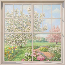 """Window over the Garden"",Del Missier-view from window picture 100x100cm or others"