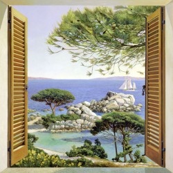 """Window over the sea"",Del Missier-view from window picture 100x100cm or others"