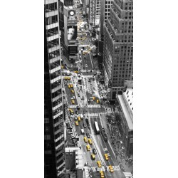 "Michel Setboun""Yellow taxi in Times Square""-vertical aerial shot over yellow taxis in new york city"