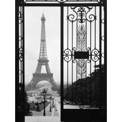 """Eiffel Tower from Trocadero Palace,Paris""Anonymous. Design Picture with Stock Photo view from a gate to the Eiffel Tower"