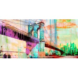 "Eric Chestier ""The Bridge 2.0"" - new york view with famous bridge in a new pop art version"
