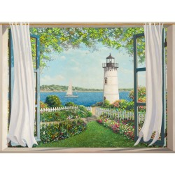 """""""Finestra sul Faro"""",Del Missier. Design Picture with Pictorial View from a Window towards the lighthouse"""