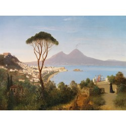 """Blick vom Posillipo"",August Zimmermann. Well known, museal classic View over the Gulf of Naples"