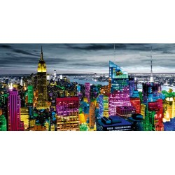 "Carly Ames""NYC in Living Colour"" quadri moderni new york foto B/N con settori colorati. Misure a scelta"