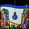 Wallas, M'illumino di Luna - Modern colorful picture with landscape and light-bulb