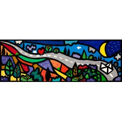 The Long Love Road,Wallas-modern comics picture with landscape and paper ship 50x100cm or others