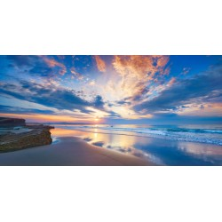 "Krahmer ""Playa, Spain"" Art Poster,Canvas arrotolato o Quadro Pronto con Spiaggia al tramonto"