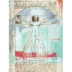 "Eric Chestier ""Vitruvian Man 2.0""-Quadro Street Art con Uomo Vitruviano in versione Pop"