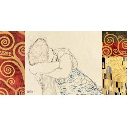 "Gustav Klimt ""Woman Resting"" - Classic Art Picture for Home Decor in a modern design rendition"