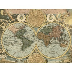 "Johanne Baptist Homann ""Planiglobii Terrestris, 1716""- Iconic ancient map image for Home Decor"