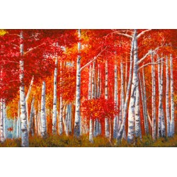 """Bosco di Betulle"" Angelo Masera. Pictorial HD Image with red birches forest view"