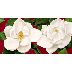 "Luca Villa ""Magnolie in fiore"". Charming white magnolias picture over passion red ground, for Home Decor"