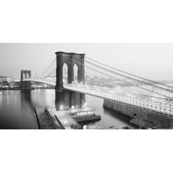 "Anonimo ""Brooklyn Bridge from Manhattan site, NYC"" Quadro con Stampa Alta Risoluzione con New York Grande Formato"
