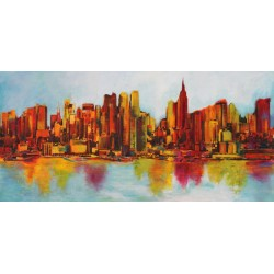 "Claude Becaud- ""New York Abskyine"". Quadro con Stampa Alta Risoluzione con New York in Misure Multiple e Grande Formato"