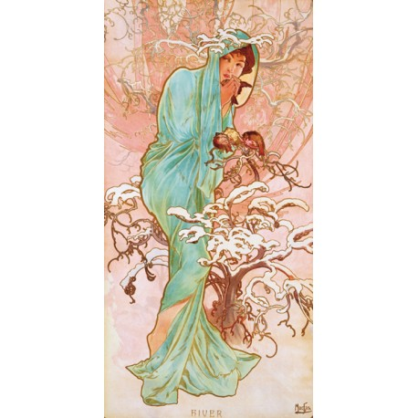 "Mucha""Hiver""-Classical Author's Fine Art Picture for Home Decor"