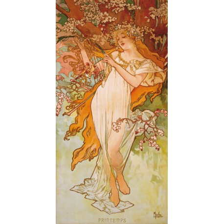 "Mucha""Printemps""-Classical Author's Fine Art Picture for Home Decor"