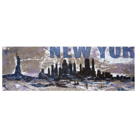 New York-Levorato - Haindpainted picture on raw Juta
