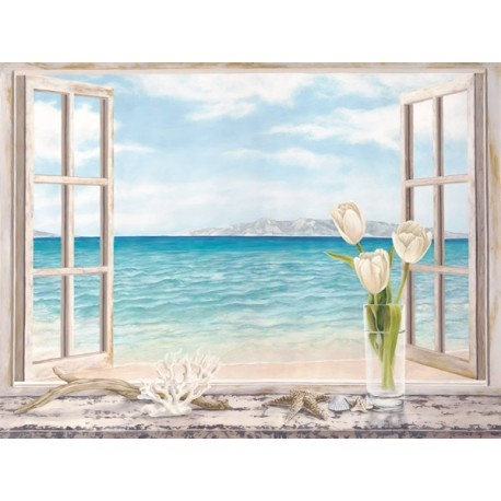 """Dellal """"Ocean View"""", Desiderable Fine Art Picture with Landscape View from Window"""