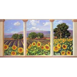 "Del Missier - ""Window over Sunflowers"". High quality Print for Home Decor Use"