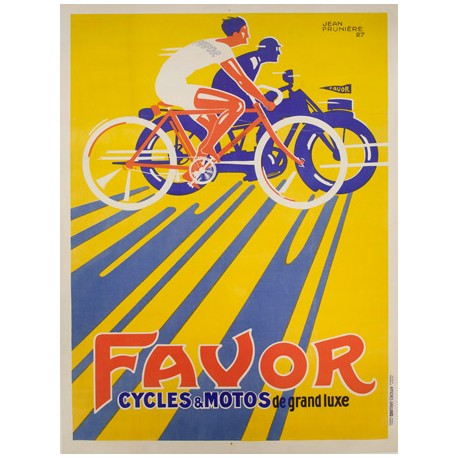 Anonymous Favor Cycles et Motos, 1927 Quadro Vintage con Stampa Fine Art su Canvas o Carta.