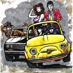 "Lupin The Third Series""500 On The Run"" Haindpainted Picture, Raw Juta Based"