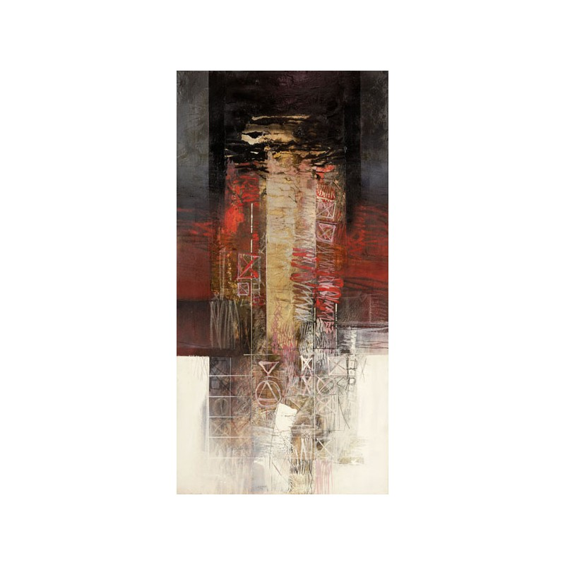 Censinos - Feelings in Red Quadro Informal Abstract, Fine Art Print on Canvas