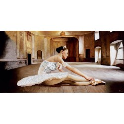 Rehearsal,Benson.High Quality Original On Demand Picture with Classic Dancer in White Dress for Home Decor Use