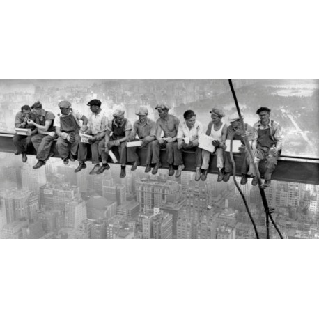 Ebbets-N.Y. Construction Workers Lunching on a Crossbeam-Quadro Famoso con Operai sul Grattacielo