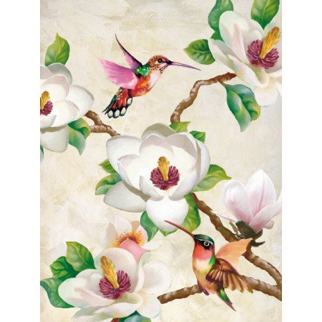 """Magnolia and Humming Birds"",Terry Wang.Elegant Picture with Tree Branches, White Flowers and Birds"
