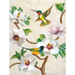 """Magnolia and Birds"",Terry Wang.Elegant Picture with flying Birds, White Flowers and Tree Branches"